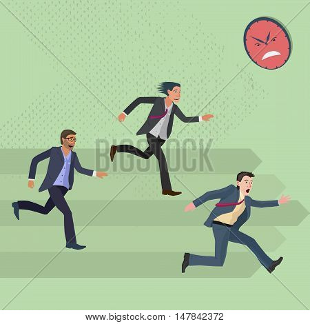 very concerned and strongly hurrying men in a business suit