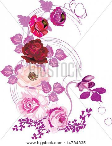 illustration with red poppy and pink rose decoration