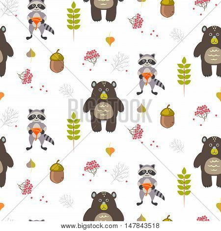 Bear and raccoon autumn white seamless pattern. Acorn and berry forest glade background.