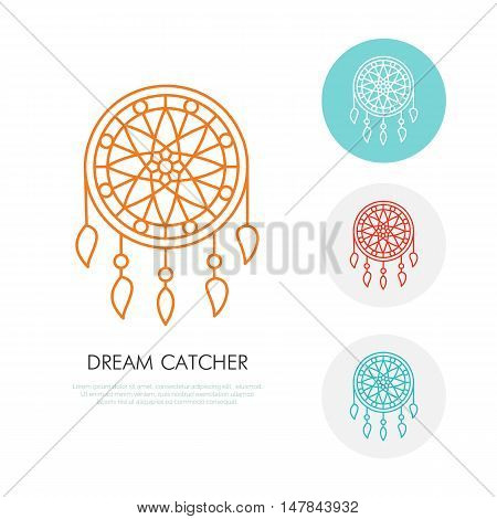 Dream catcher illustration. Modern line icon of dreamcatcher. Indian tribal linear logo. Outline symbol for sleep problem healthy sleep. Design element for site brochure book. Nightmare protection.