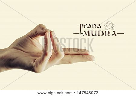 Image of woman hand in prana mudra. Gesture is isolated on toned background.