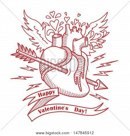 Vintage engraving vector illustration with Human anatomical heart, ribbon and arrow for Valentines Day card.
