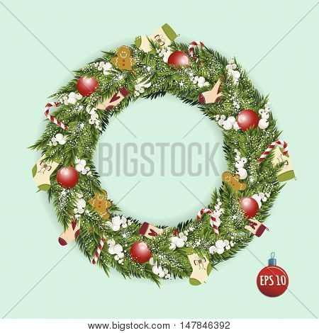 Stock Vector Christmas wreath with lollipops gingerbread socks and white berries