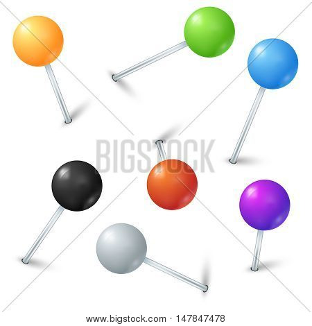 Color realistic map pins vector set. Push button for marker location on map illustration