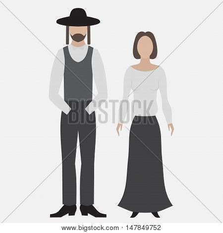 Orthodox jew. Flat icon. Hebrew from Israel Jewish man and woman in religios cloth. Traditional stereotype flat characters