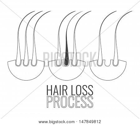 Hair loss process. Hair medical diagnostics symbols set. Hair bulb elements. Hair medical diagnostics label. Hair follicle icon. Hair medical center poster. Hair loss treatment concept.