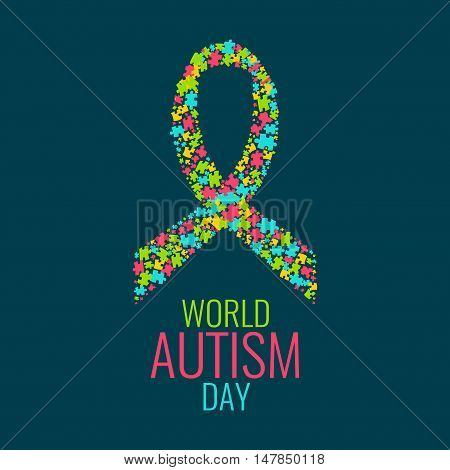World Autism Day. Autism awareness poster with a ribbon made of multicolored puzzle pieces on dark background. Autism solidarity day. Symbol of Autism. Vector illustration.