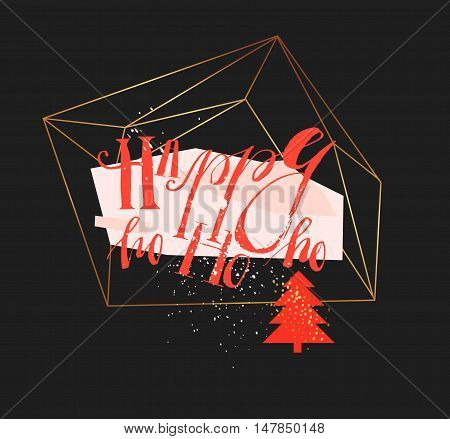 Hand drawn vector abstract geometric christmas greeting illustration with handwritten modern lettering phase Happy ho ho ho in gold flower terrarium in red and pastel colors isolated on black background.