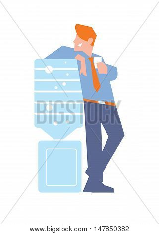 Business banner with smiling businessman in business suit and tie near water cooler, isolated vector illustration on white background. Business people. Office life. Corporate culture.