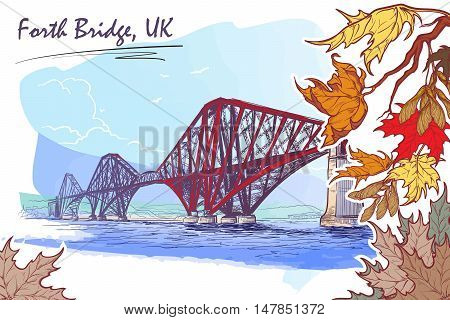 Firth of Forth cantilever railway bridge panorama. Autumn maple leaves frame. Seasonal greeting card or banner. Watercolor imitating painted sketch. EPS10 vector illustration.
