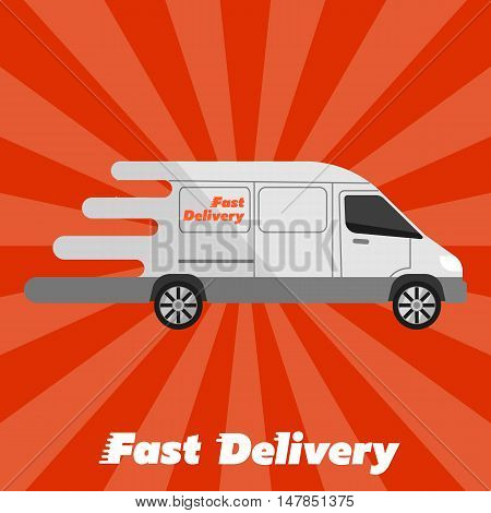 Delivery van icon. White delivery van on background. Fast delivery banner vector illustration. Delivery truck flat vector illustration. Commercial vehicle. Delivery service concept. Delivery truck icon. Fast delivery truck sign. Abstract delivery truck.