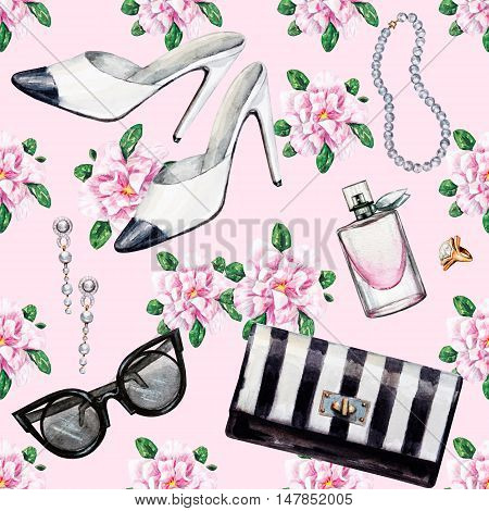 Seamless watercolor pattern with various female accessories and flowers. High heel shoes perfumes earrings rings beads sunglasses. Hand drawn accessories