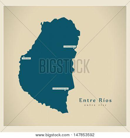 Modern Map - Entre Rios AR vector