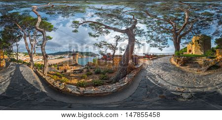 Spherical, 360 degrees, seamless panorama of the fortress of the city of Tossa de Mar, Spain