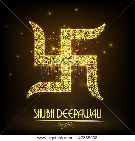 Floral Golden Swastika Symbol for Indian Traditional Festival, Shubh Deepawali (Happy Diwali) celebration.