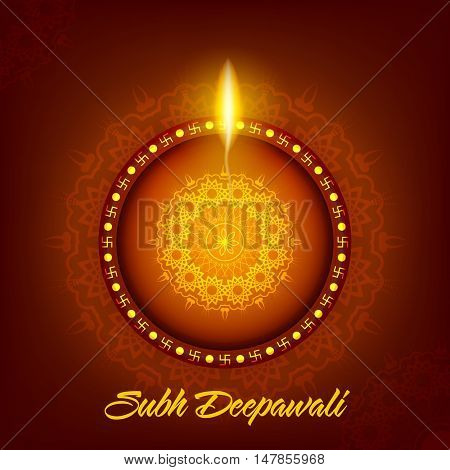 Beautiful illuminated Oil Lit Lamp on floral background, Elegant Greeting Card design for Indian Festival of Lights, Shubh Deepawali (Happy Deepawali or Diwali) celebration.