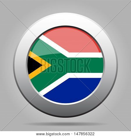 metal button with the national flag - South Africa Republic of South Africa on a gray background