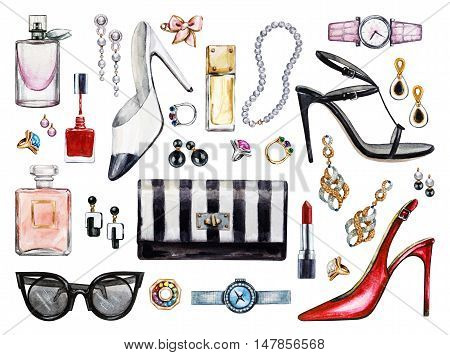 Set of various watercolor female accessories. Makeup products high heel shoes perfumes lipstick earrings rings beads nail polish watch sunglasses. Hand drawn accessories