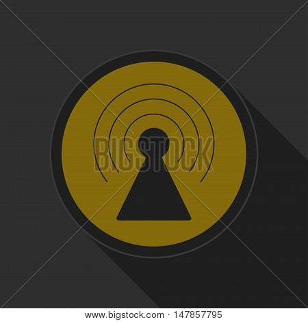 dark gray and yellow icon - transmitter on circle with long shadow
