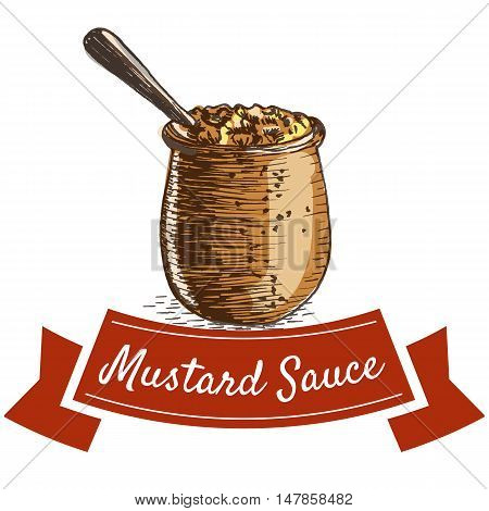 Mustard sauce illustration. Vector colorful illustration of mustard sauce.