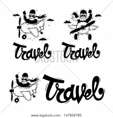 Traveling by plane, flying, adventure, vacation, holiday, summer. Lettering, calligraphy, lino-cut. Hand-drawn. Flat design vector illustration.