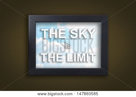 The sky is the Limit in sky photo frame with dark background.