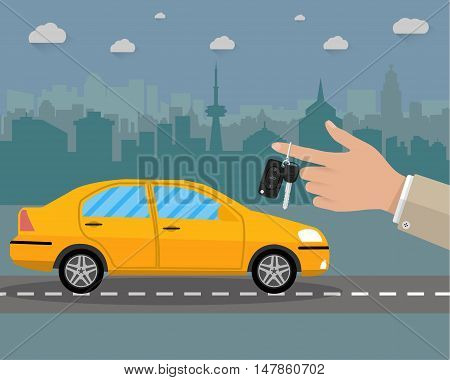 Hand holding car Key with alarm and chain. car on road and cityscape. vector illustration in flat style