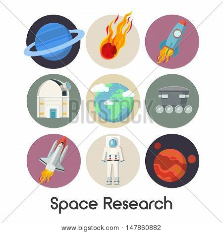 Space Research Vector Icons Set with Shuttle and Planets