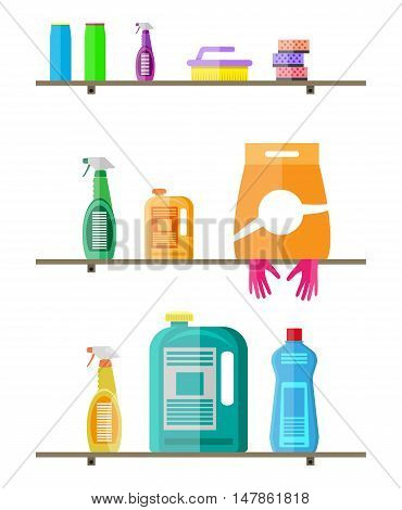 Household products on plastic shelves. cleaning products in bottles for floor and glass, rubber gloves, sponge, powder. vector illustration in flat style on white