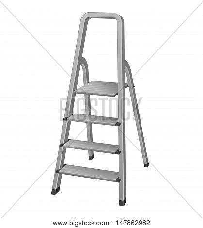 Isolated metal step ladder vector realistic vector illustration