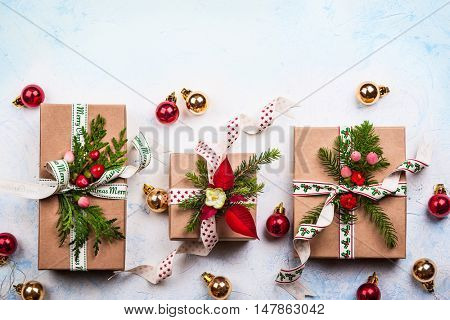 Christmas background with gift boxes and  decorations. Top view