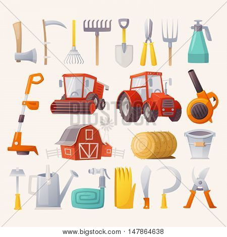 Items tools and agricultural machines for farming. Flat view