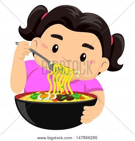 Vector Illustration of a Girl eating noodles using fork