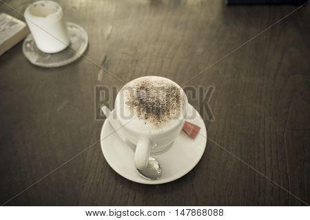 coffee mug in a coffeeshop in London