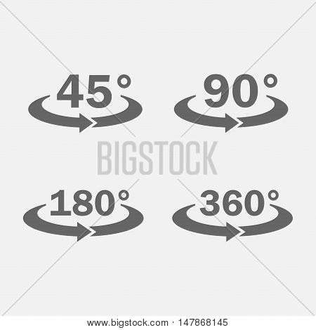 45 90 180 360 degrees view icon vector set isolated from the background. The symbol of the turning or rotation.