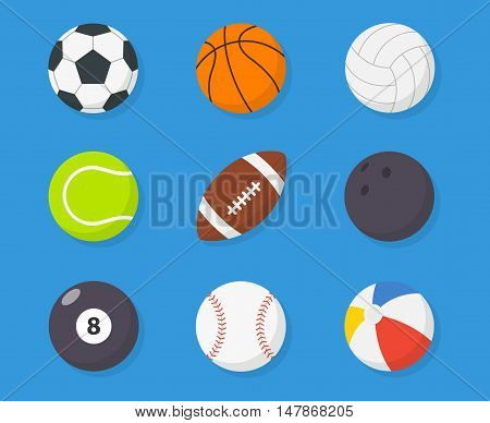 Sport balls vector set of isolated from the background in flat syle. Icons soccer volleyball basketball american football tennis baseball billiard bowling beach balls.