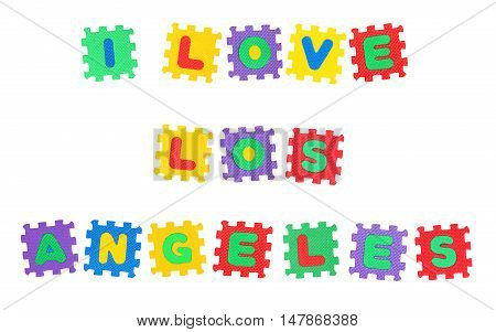 Message I Love Los Angeles from letters puzzle isolated on white background.