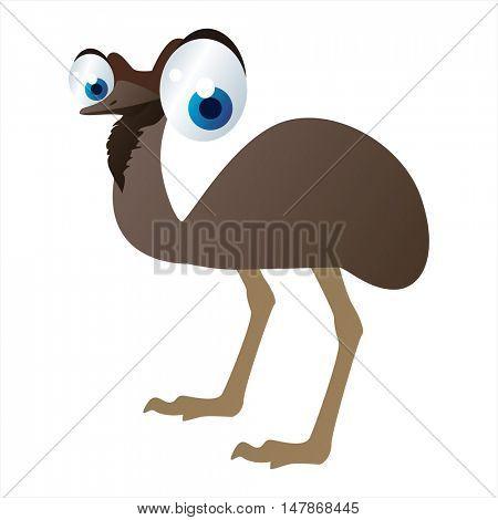 vector funny animal cute character illustration. Emu bird