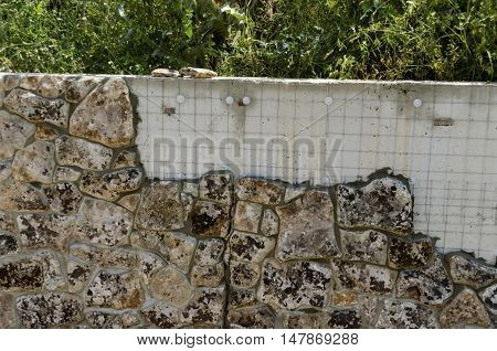Technology for facing of  wall in the stone form, Giginski monastery, Breznik, Pernik region, Bulgaria