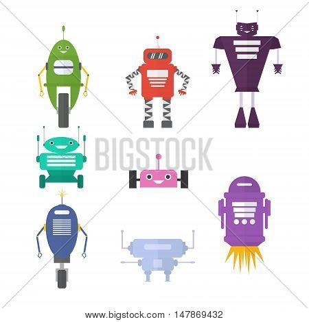 Retro robot set in flat style vintage cute robots. Toy robots vector