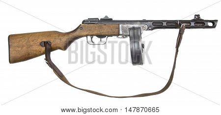Automatic gun from World War II isolated on white background. Machine gun.