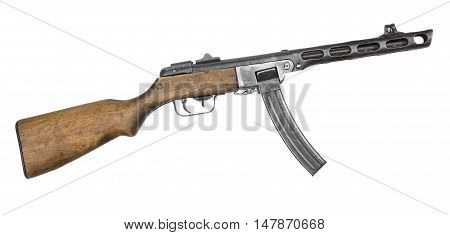 machine gun from World War II isolated on white background. Automatic gun.