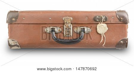 old suitcase isolated on white background with a lock of wax. Old suitcase used to travel with the secret contents.