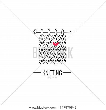 Knitting is love. Modern vector line icon of knitting. Knitting elements - yarn knitting needle. Outline symbol for knitting shops clubs. Knitting design element for sites. Knitting business