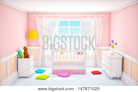 Pink baby's bedroom with crib in classic style. 3d illustration.