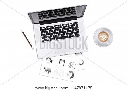 Business's desk of office supplies and gadgets computer telephone pen book cactus on empty white table background. Top View from above.