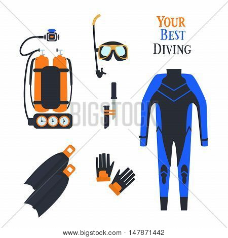 Set for diving sports. Set .kostyum immersion in water Balon air . Vector illustration