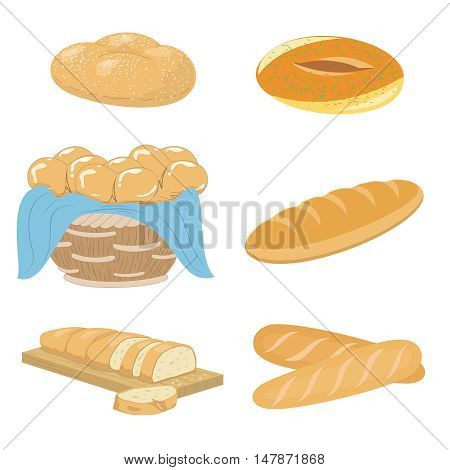 Illustration of a set of various bread bakery and pastry food icons products.