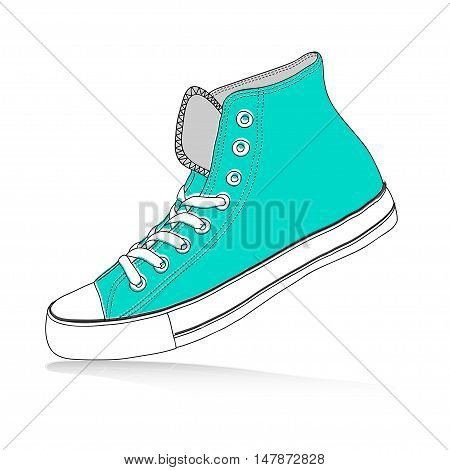 The hand draw vector modern sport shoes - sneakers