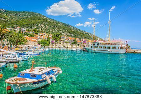View at picturesque mediterranean town Bol, Island Brac, Croatia summertime.